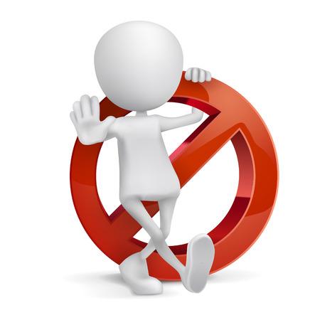 interdiction: Homme 3D avec un signe d'interdiction sur fond blanc