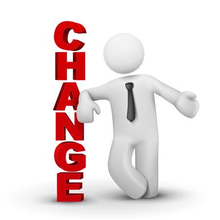 kavram ve fikirleri: Kelime değişikliği sunan 3d iş adamı beyaz arka plan izole