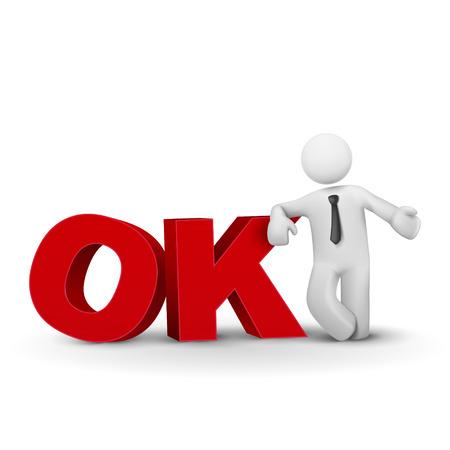 Uomo d'affari 3d parola presentando OK concetto isolato sfondo bianco Archivio Fotografico - 24544482
