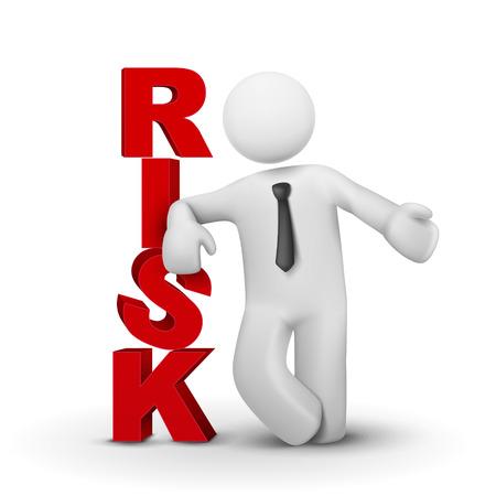 management concept: Fondo blanco aislado 3d hombre de negocios presentando riesgo de la palabra concepto
