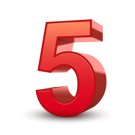 number five: 3d shiny red number 5 isolated white background