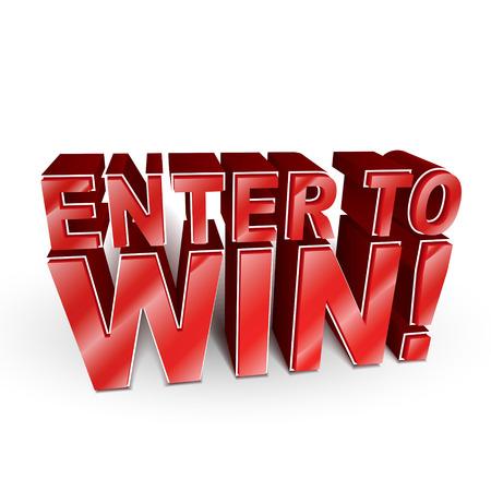 3D-afbeelding van de woorden Enter om te winnen op wit wordt geïsoleerd Stock Illustratie