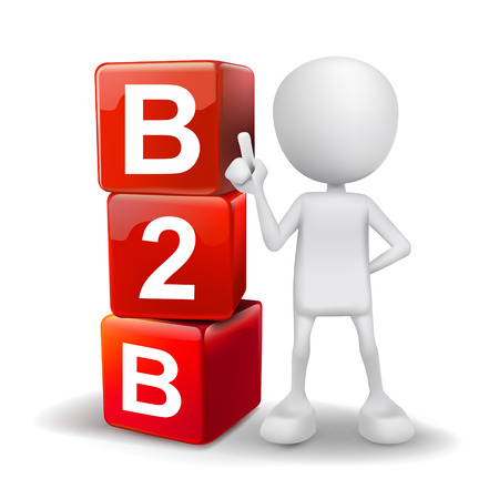 b2c: 3d illustration of person with word B2B cubes
