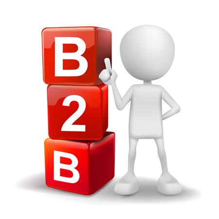 b2b: 3d ilustraci�n de la persona con la palabra B2B cubos Vectores