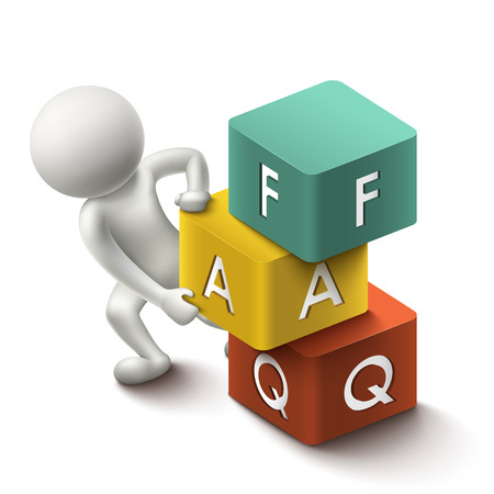 3d illustration of person with word FAQ cubes Vector