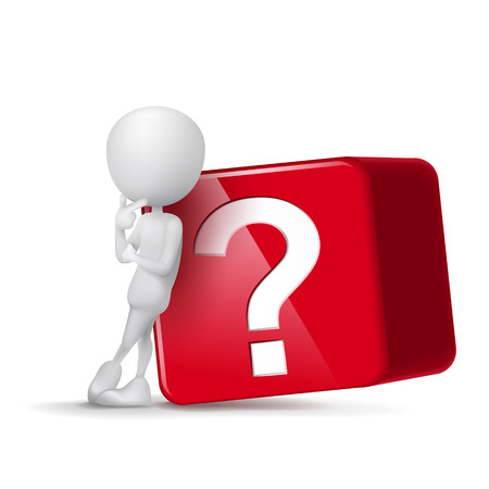 requesting: 3d guy thinking in front of big question mark cube Illustration