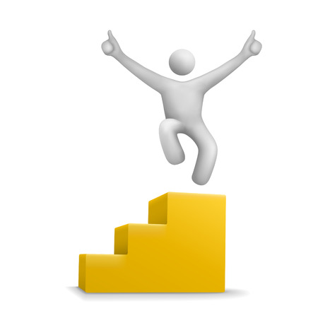 3d human jumping on yellow stair isolated white background Vector