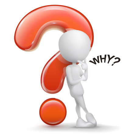 3d guy thinking in front of a big question mark isolated white background