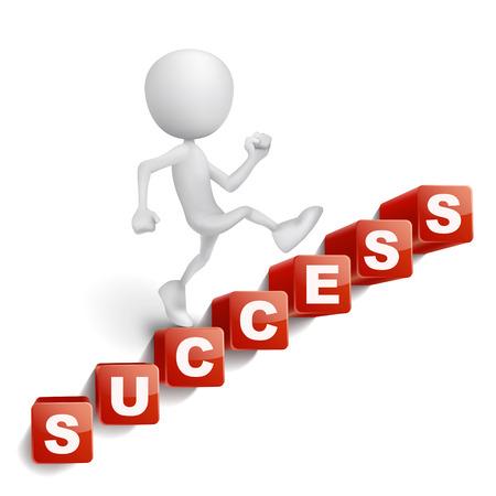 3d persoon trappen gemaakt van kubussen belettering succes woord geïsoleerde witte achtergrond Stock Illustratie