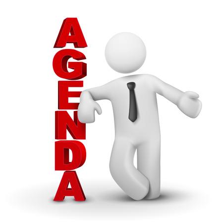 persona: Hombre de negocios 3d que presenta concepto de agenda aislado fondo blanco