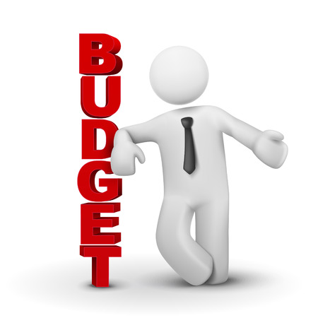 budget crisis: 3d business man presenting concept of budget isolated white background