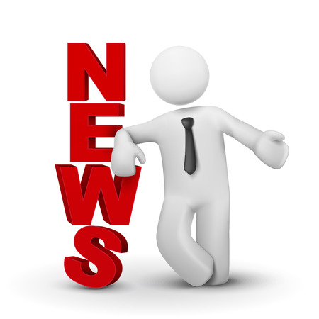 news update: 3d businessman presenting concept word news isolated white background