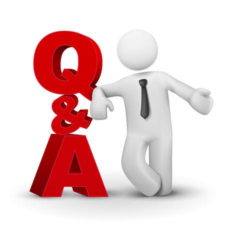 q: Uomo d'affari 3d presentando concetto di parola QA isolato sfondo bianco Vettoriali
