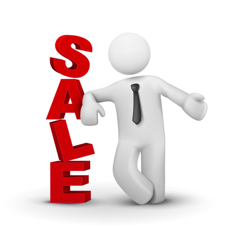 sell off: 3d business man presenting word sale concept isolated white background Illustration
