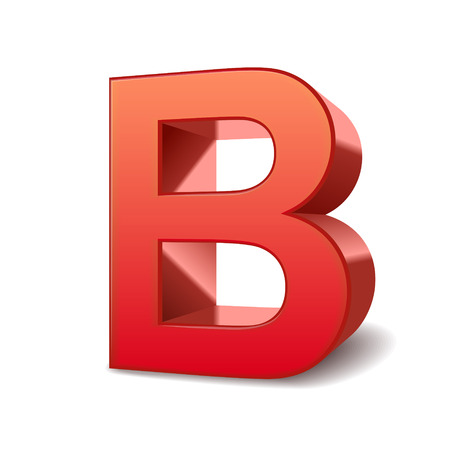 3d red letter B isolated white background Illustration