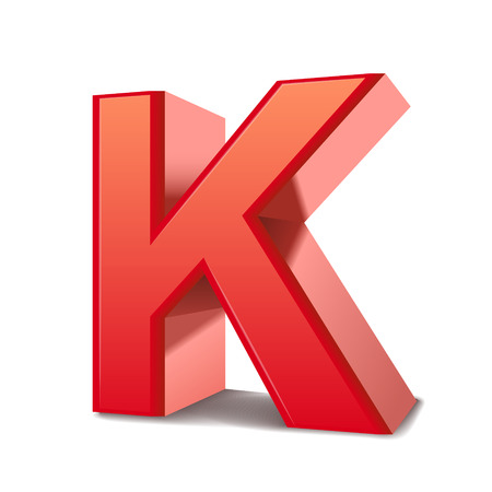 letter k: 3d red letter K isolated white background