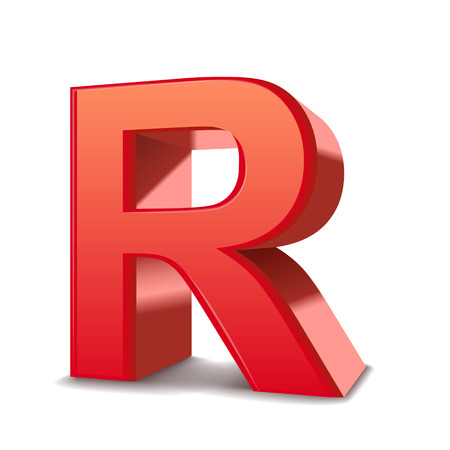 letter r: 3d red letter R isolated white background