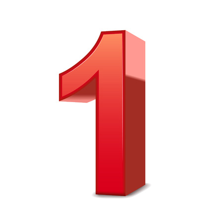 numero uno: Brillante número rojo 1 aislado fondo blanco 3d