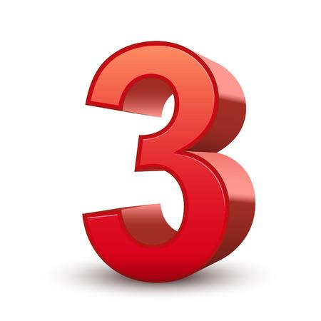 rood teken: 3d glanzend rood nummer 3 geïsoleerde witte achtergrond Stock Illustratie