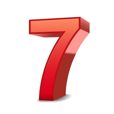 3d brillant rouge numéro 7 isolé sur fond blanc Vecteurs