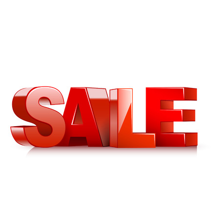 sales floor: 3d red text SALE isolated white background