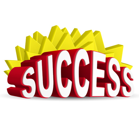 goal achievement: 3d red text SUCCESS isolated white background