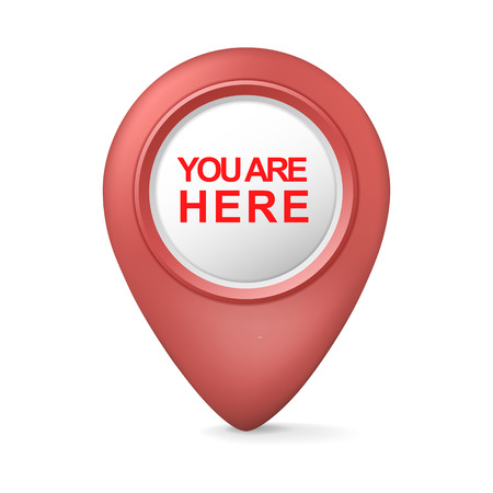 here: 3d you are here symbol isolated white background