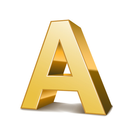 isolated on white background: 3d golden letter A isolated white background