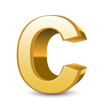 isolated on white background: 3d golden letter C isolated white background