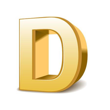 3d golden letter D isolated white background