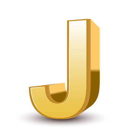 3d golden letter J isolated white background Vector