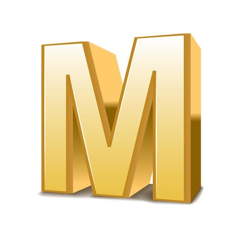 3 d ゴールデン手紙 M ホワイト バック グラウンドの分離