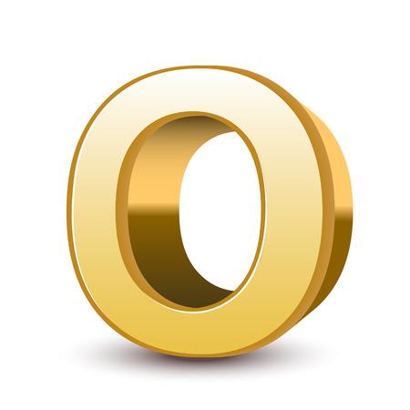 letras de oro: Aisladas 3d carta de oro O el fondo blanco