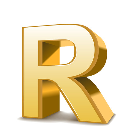 letter r: 3d golden letter R isolated white background
