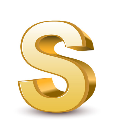 3d golden letter S isolated white background