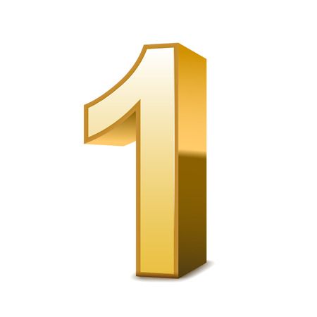number one: 3d shiny golden number 1 on white background Illustration