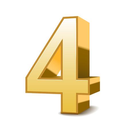 three dimensional shape: 3d shiny golden number 4 on white background Illustration