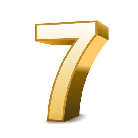 three dimensional shape: 3d shiny golden number 7 on white background Illustration