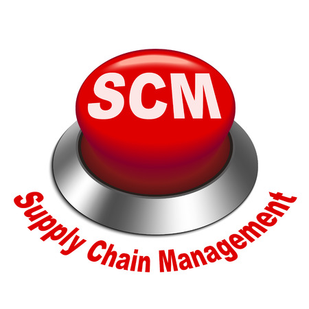 3d illustration of scm ( supply chain management ) button isolated white background Vector