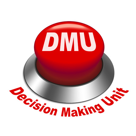 3D-afbeelding van dmu besluitvorming eenheid knop geïsoleerde witte achtergrond Stock Illustratie