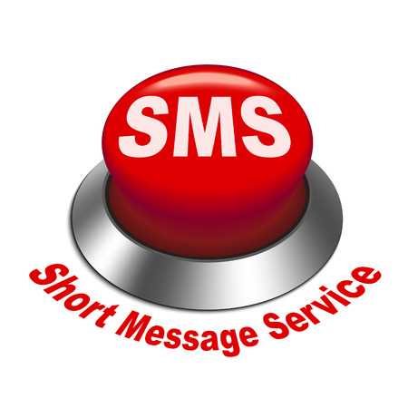 short message service: 3d illustration of sms ( short message service ) button isolated white background