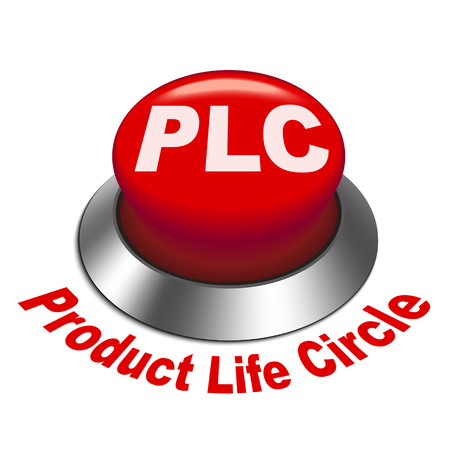 3d illustration of PLC ( Product Life cycle ) button isolated white background  Vector