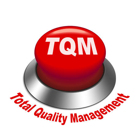 3d illustration of tqm total quality management button isolated white background Vector