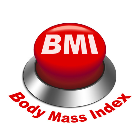 fatness: 3d illustration of BMI ( Body Mass Index) button isolated white background