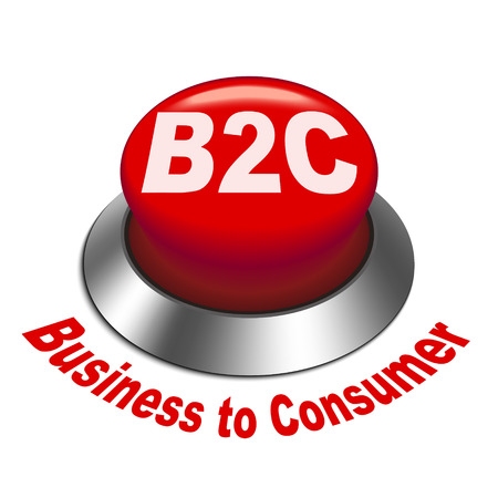 b2e: 3d illustration of b2c ( business to consumer ) button isolated white background
