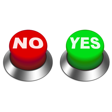 persuasive: 3d illustration of yes and no buttons isolated white background  Illustration