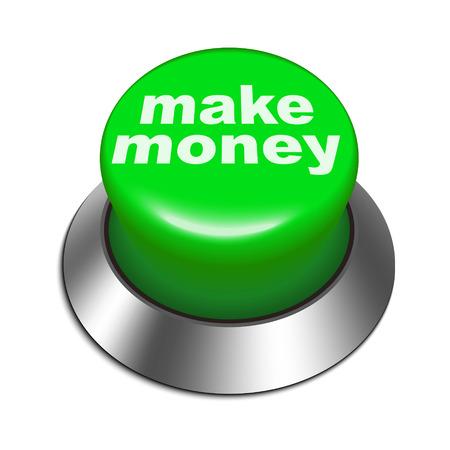 make money: 3d illustration of make money button isolated white background