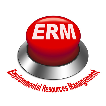 erm: 3d illustration of erm enterprise risk management button isolated white background