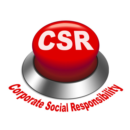 csr: 3d illustration of csr corporate social responsibility button isolated white background