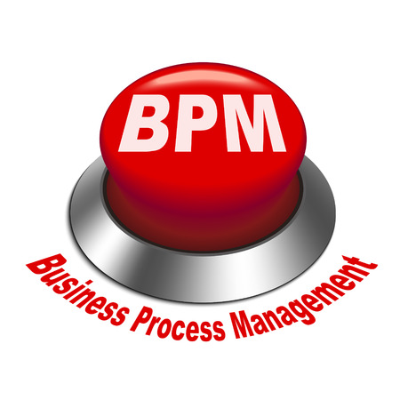 bpm: 3d illustration of bpm business process management button isolated white background